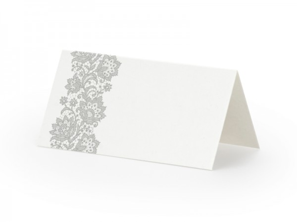 Paris Dekorace Svatební jmenovky na stůl se stříbrno šedým dekorem