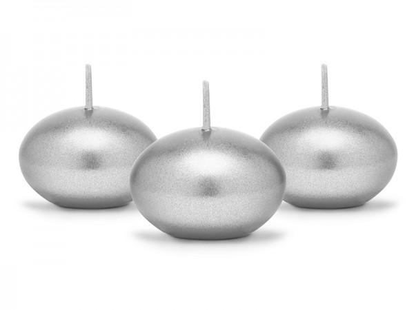 Paris Dekorace Plovoucí svíčka metalicky stříbrná, 4 cm